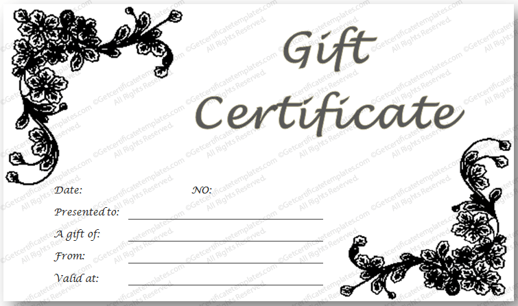 Black And White Gift Certificate Template Yeniscale