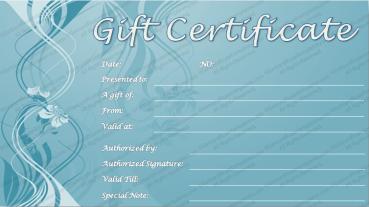 Blue Emboss Gift Certificate Template