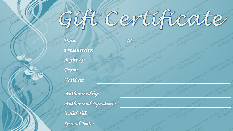 Blue emboss gift certificate template yadclub Gallery