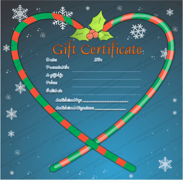 Candy Cane Heart Gift Certificate Template