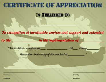 Certificate of Appreciation Template for Military