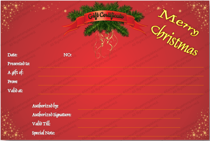 Download options for Christmas Twinkles Gift Certificate Template :