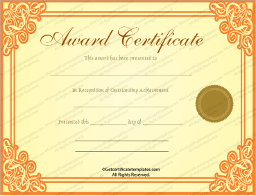 Gold Award Certificate Template
