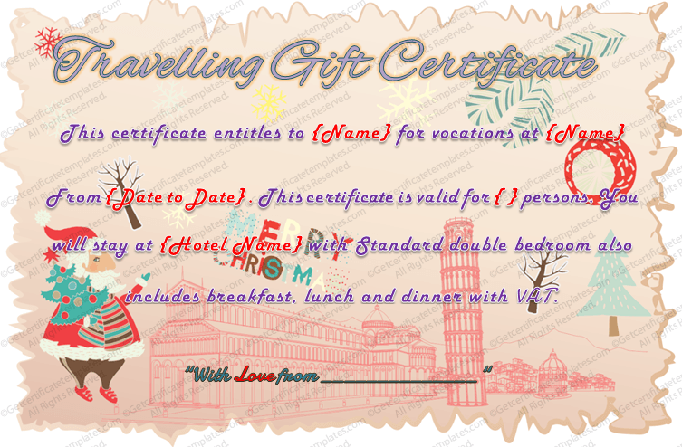 holiday travel gift certificate template