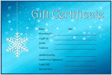 Ice and Snow Gift Certificate Template