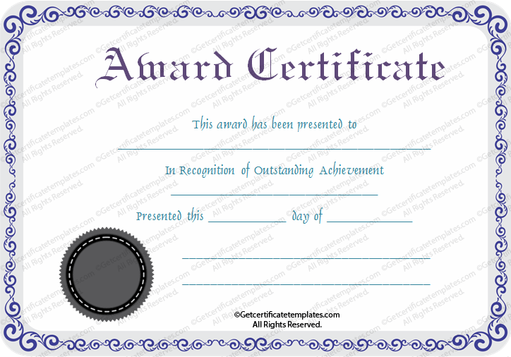 special recognition award template
