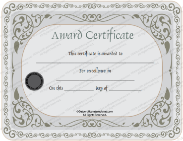 Silver Certificate of Appreciation Template