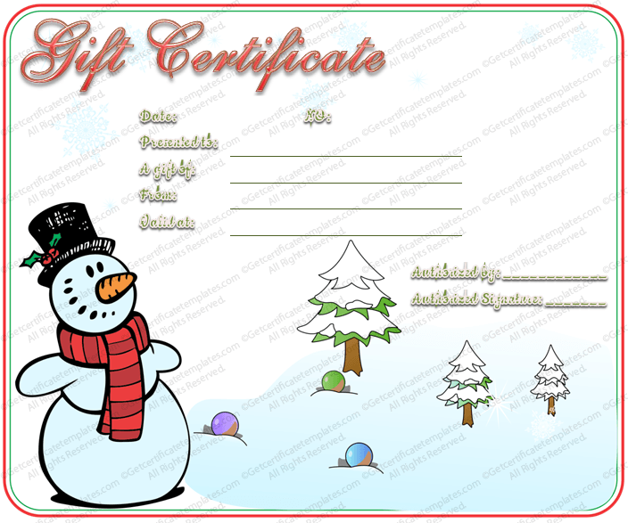 Snowman christmas gift certificate template for Holiday gift certificate template free printable