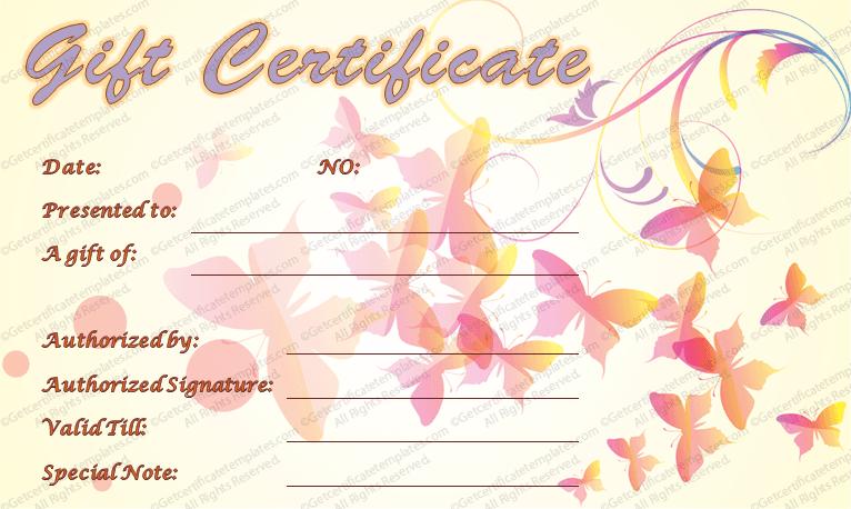 Spring Butterflies Gift Certificate Template