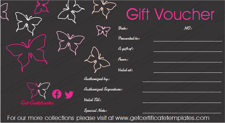 Butterfly in Black Gift Certificate Template