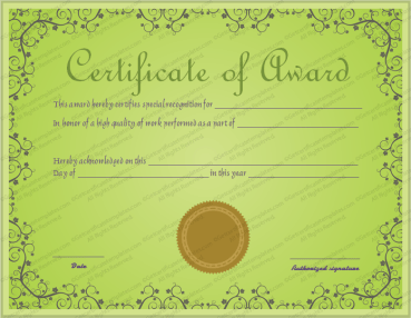 Green Valley Award Certificate Template
