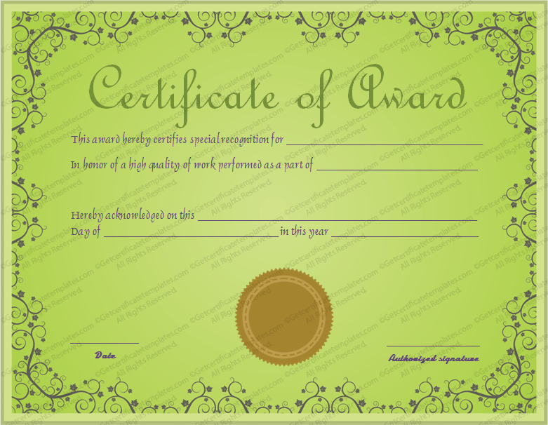 leader award certificate template