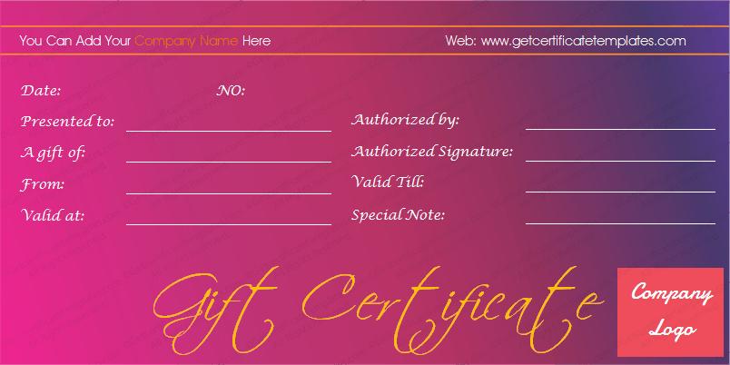 Magenta Splash Gift Certificate Template