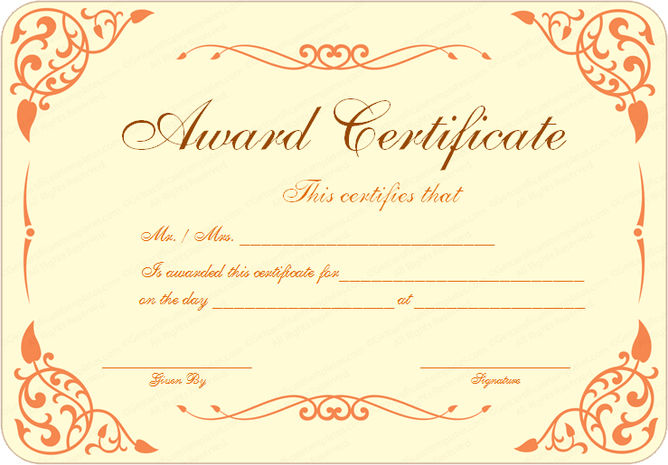 Award Certificate Template  Award Word Template