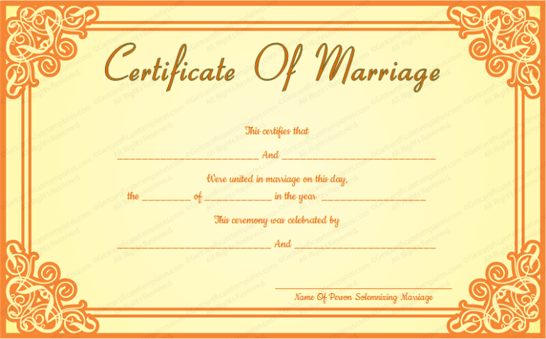 Marriage Certificate Format  7 Blank Editable Formats