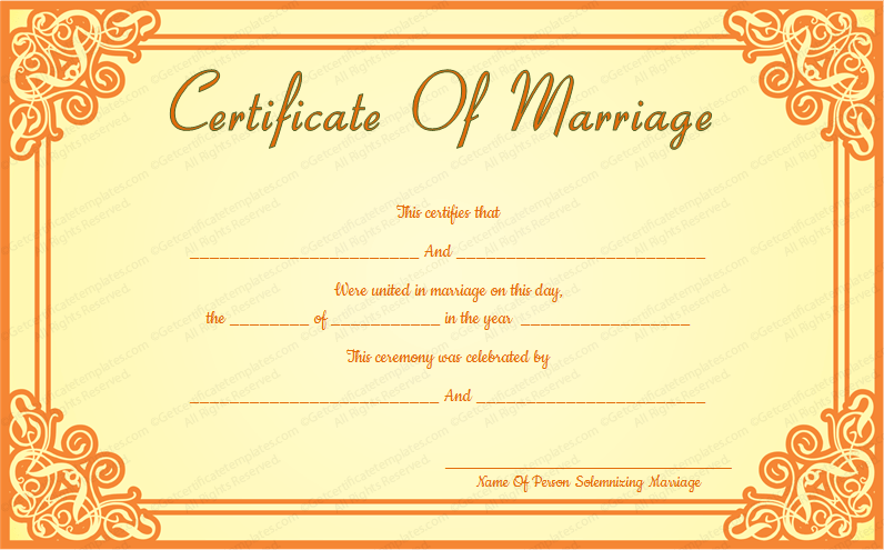 Orange frame wedding certificate template yadclub Choice Image