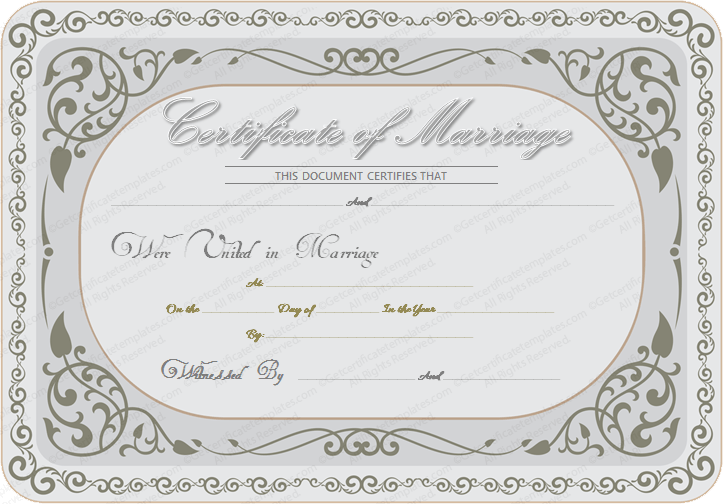marriage certificate template - silver state marriage certificate template