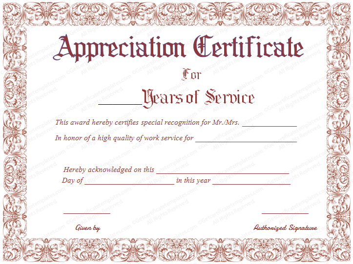 Download options for Appreciation Certificate for Years of Service :