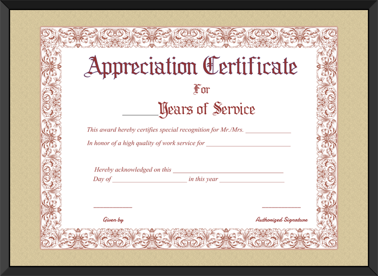 Free printable appreciation certificate for years of service for Work anniversary certificate templates