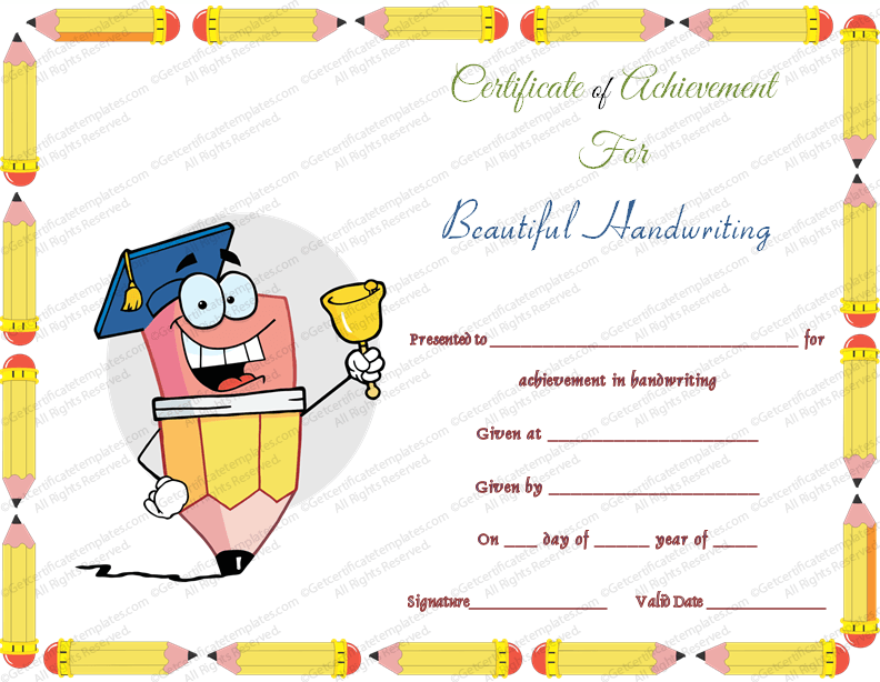 Free Printable Beautiful Handwriting Award Certificate Template