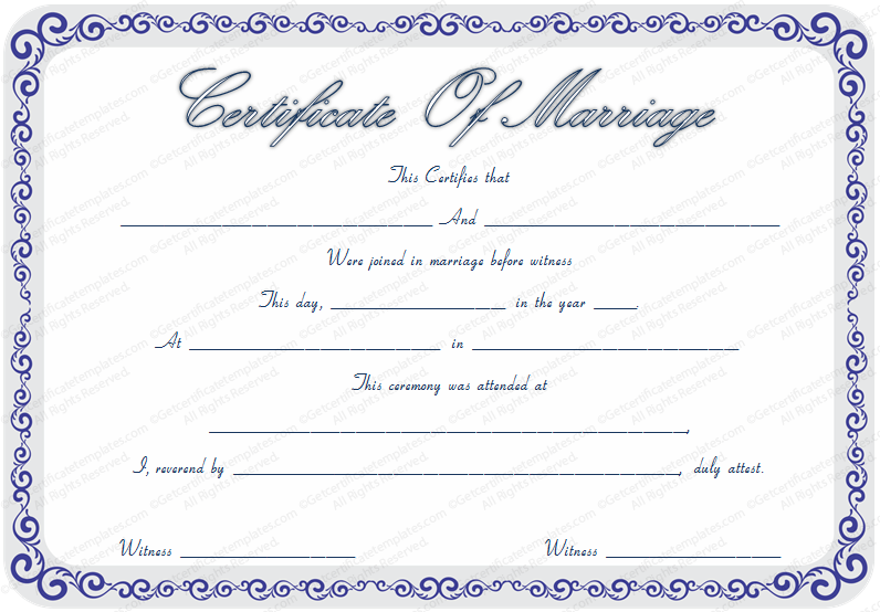 free marriage certificate template with blue borders