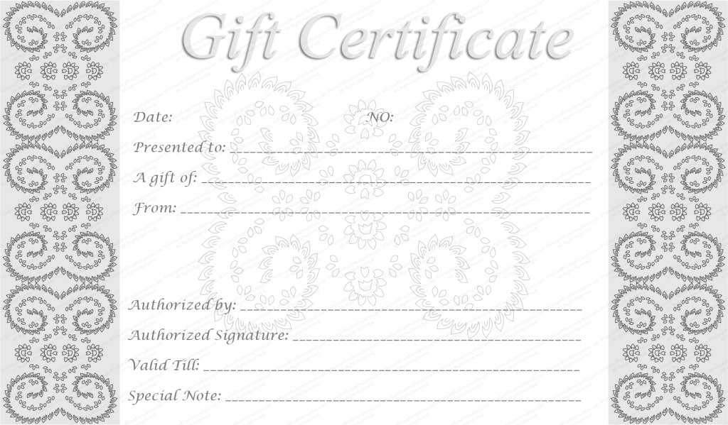 Editable And Printable Silver Swirls Gift Certificate Template