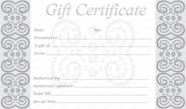 Silver Swirls Gift Certificate Template