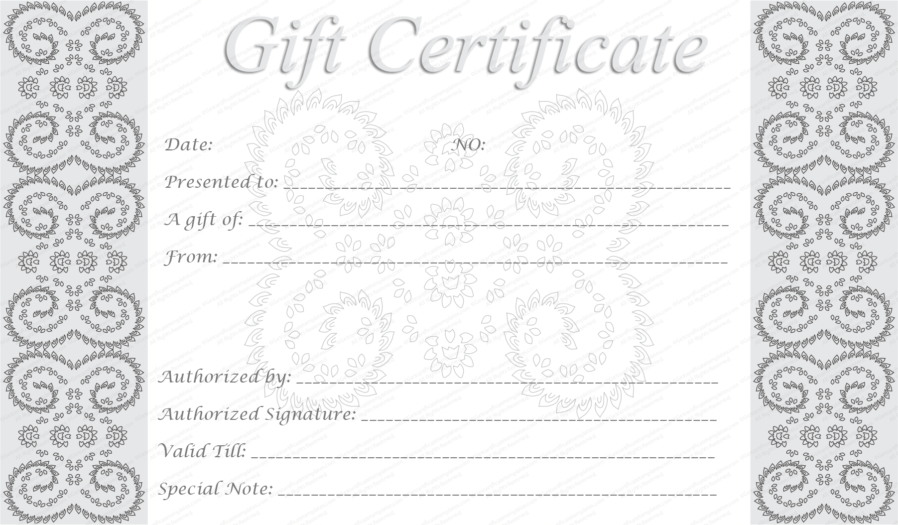 downloadable gift certificate template - editable and printable silver swirls gift certificate template
