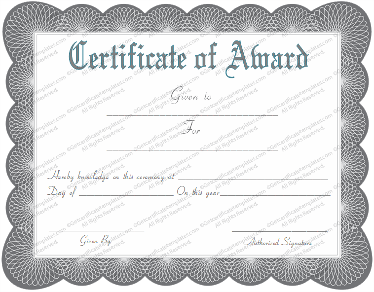 general award certificate template