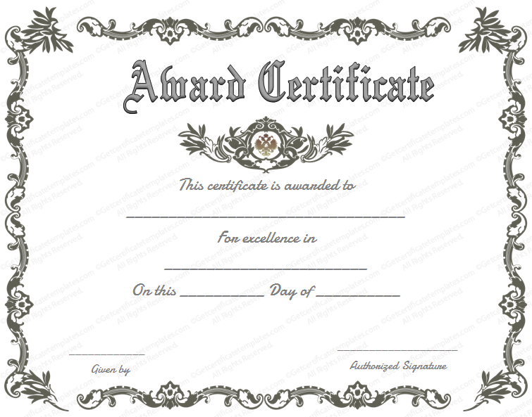 Royal award certificate template get certificate templates for Prize certificates templates free