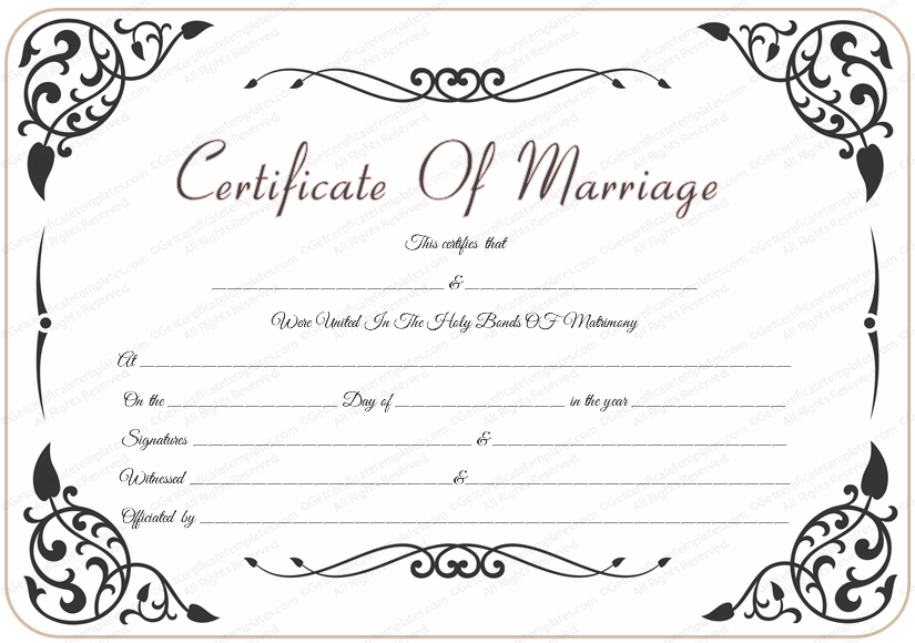 free wedding certificate template with traditional swirls