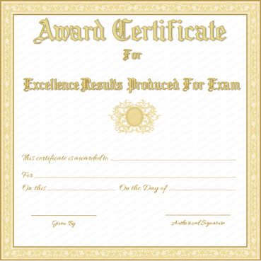Award Certificate for Best Results in Exams