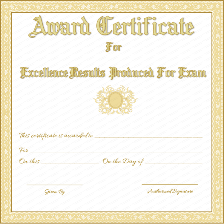 free printable award certificate for best results in exams With exam certificate template