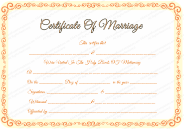 editable marriage certificate template