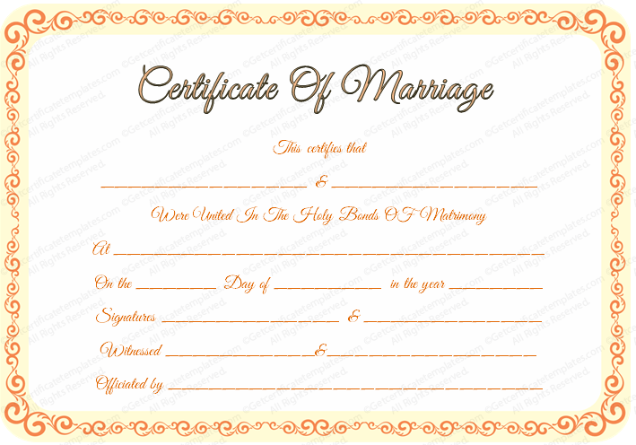 Free editable marriage certificate template editable marriage certificate template yadclub Images
