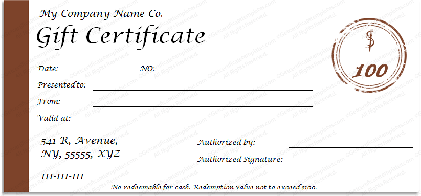 One Note Simple Gift Certificate Template  Gift Certifcate Template