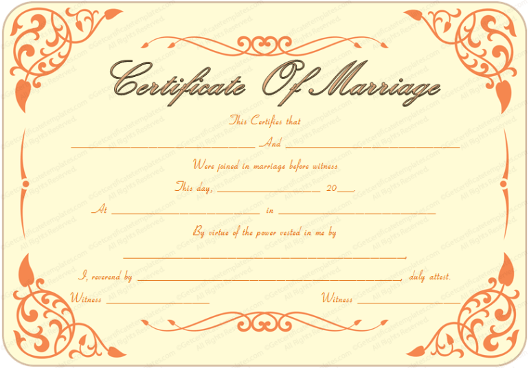 Marriage Certificate Templates