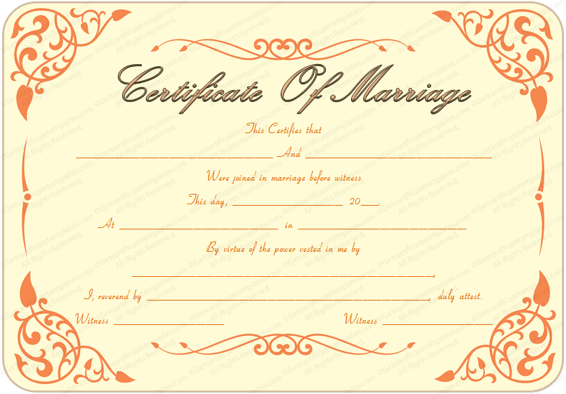 the gallery for gt printable marriage certificate download