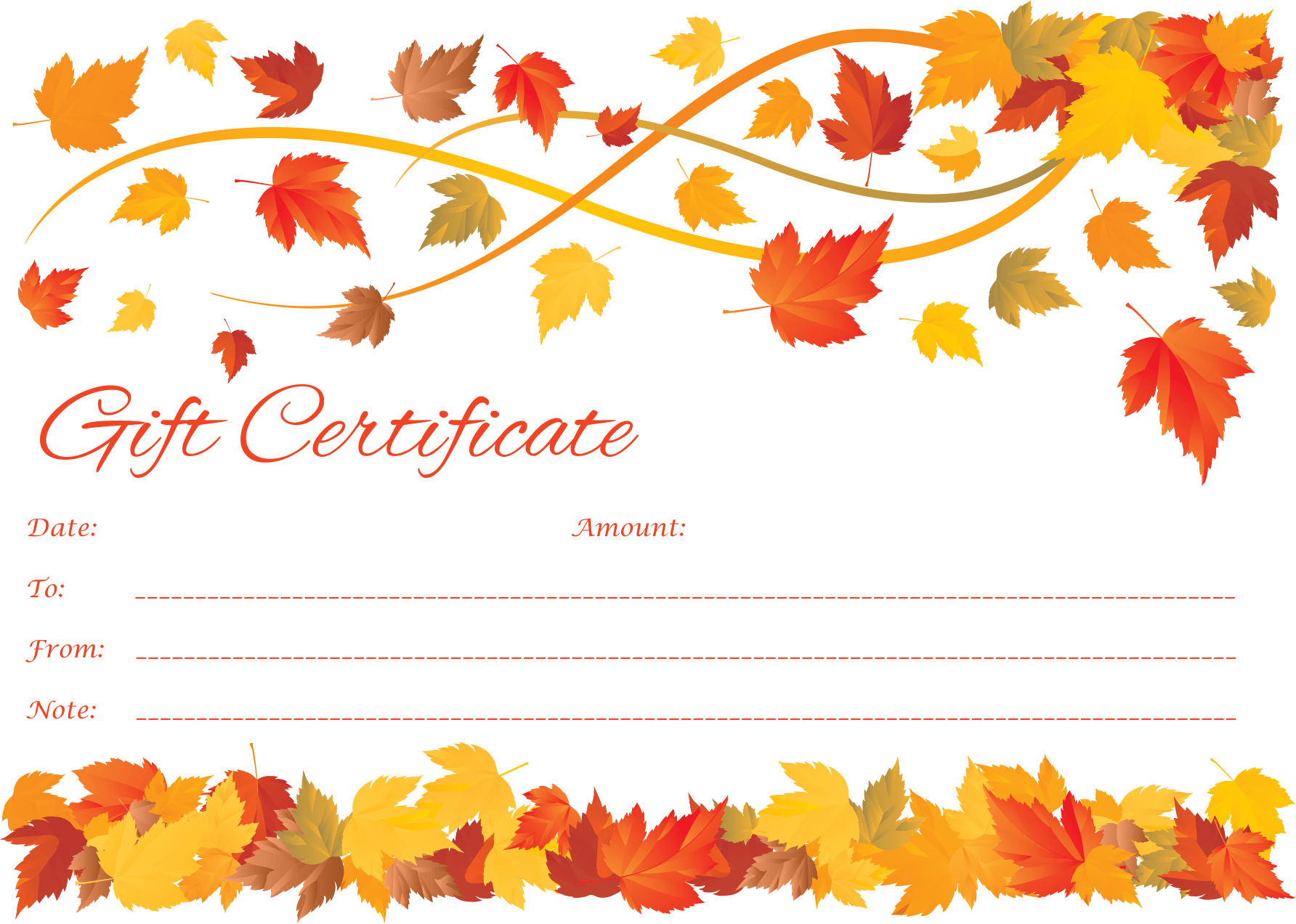customizable spring to fall gift certificate template spring and fall gift certificate template