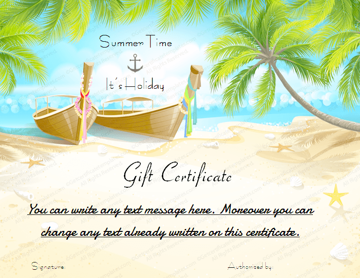 Printable Beach Holiday Gift Certificate Template