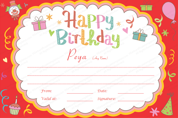 Printable Birthday Bash Gift Certificate Template