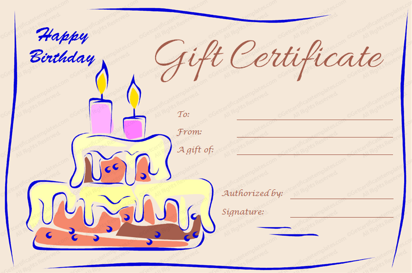 Birthday Gift Certificate Template With Cake And Candles  Editable Gift Certificate Template