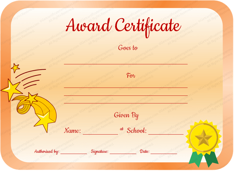 Core value award certificate template for students for Student of the year award certificate templates