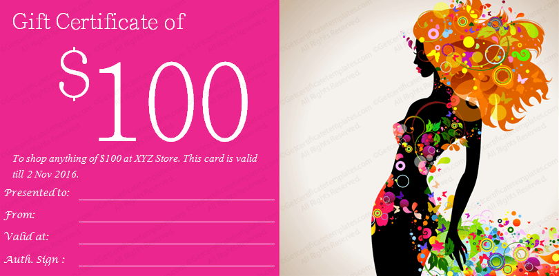 Printable Fashion Girl Gift Certificate Template – Create a Voucher Template