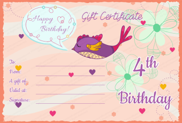 Wishing Sparrow Birthday Gift Certificate Template