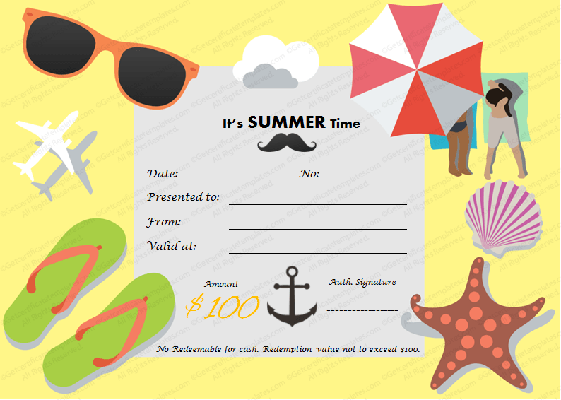 Summertime Gift Certificate Template For Summer Holidays