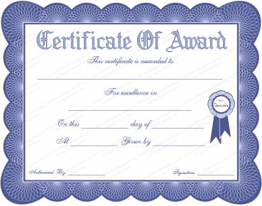 Certificate template award cirtificates all form templates yelopaper Gallery