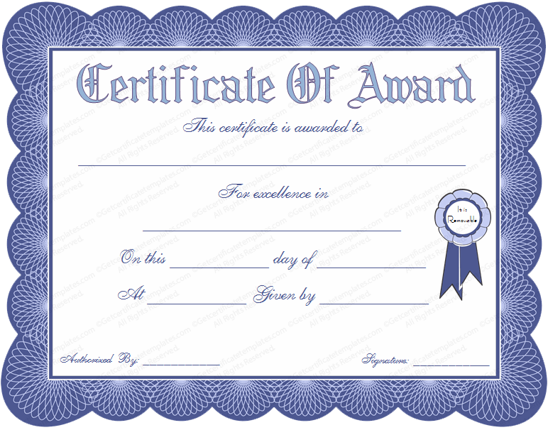 General Award Certificate Template In Blue Color