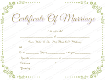 marriage certificate with flower border