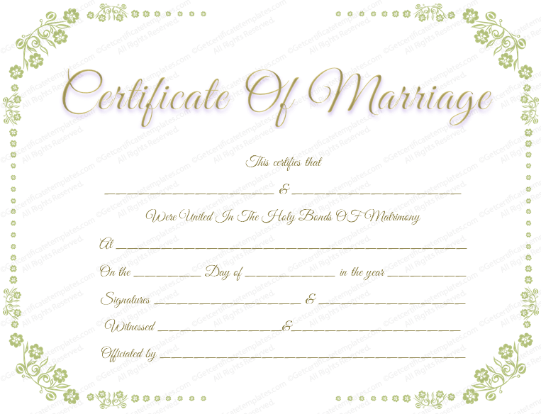 Certificate template with flowers border marriage certificate with flower border download options for marriage certificate template yadclub Gallery